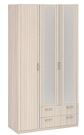 Шкаф 3-х дверный с ящиками 1260 с зеркалами Боровичи Лотос АРТ-8.031