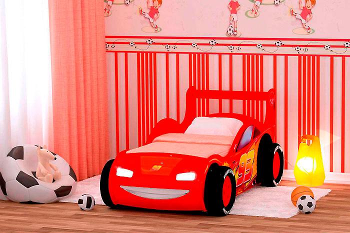 Кровать-машинка Red River Молния 3Д (пластик)