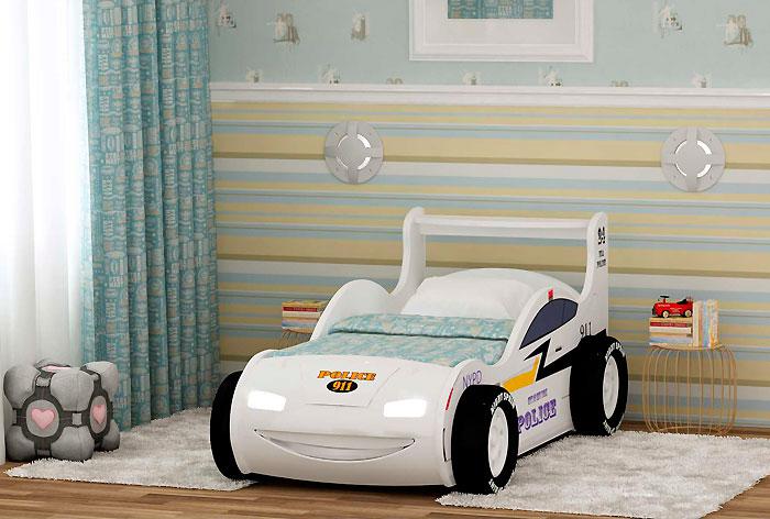 Кровать-машинка Red River Молния 3Д (Полиция)