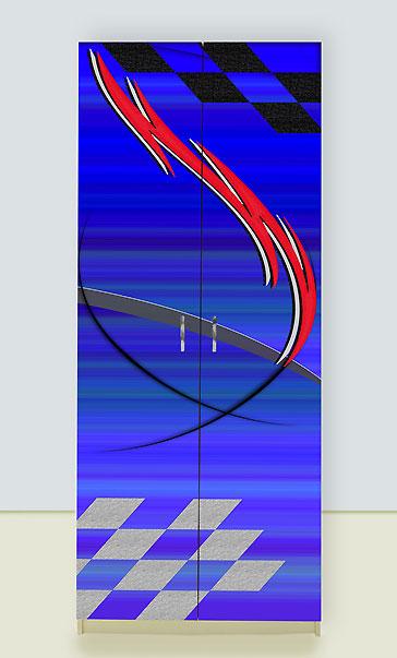 Шкаф 2х дверный Молния синий