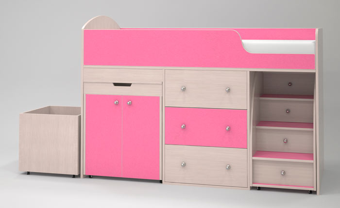 Кровать-чердак Малыш (дуб молочный/розовый)
