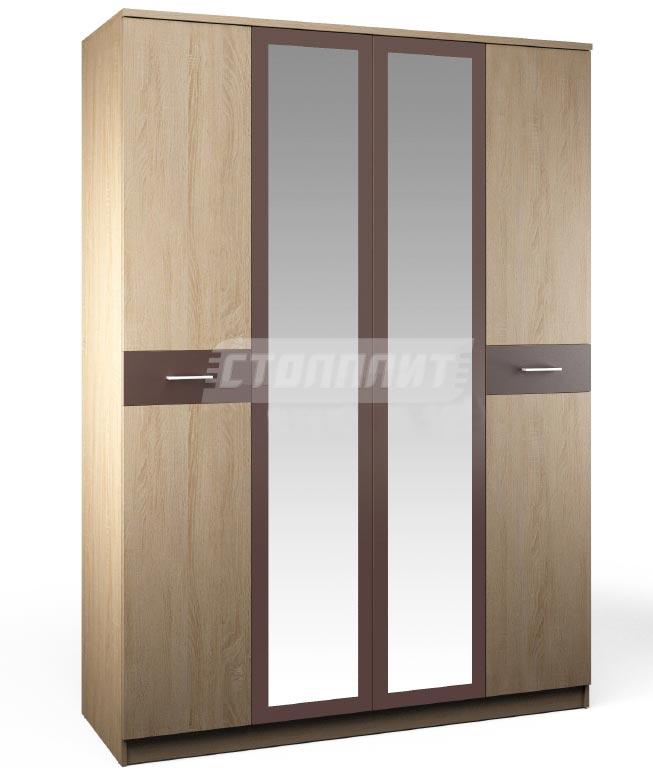 Шкаф 4-х дверный с зеркалом Столплит Клео, Арт. СБ-2006+2FZ+2F