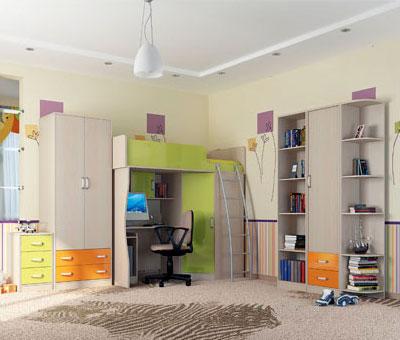 Столплит. Цена указана за элемент СБ-1011 - шкаф многоцелевой. Цвет корпуса/фасада: Дуб кремона/Дуб кремона, персик