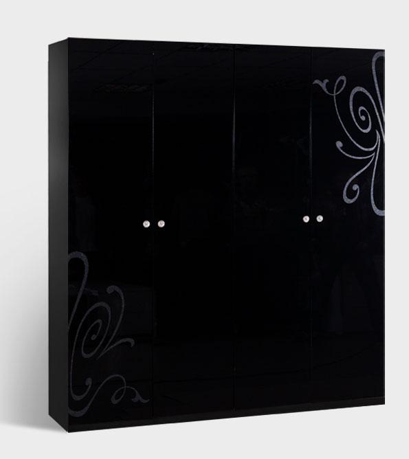 Шкаф 4-х створчатый без зеркала Ярцево Европа-9 (черный), арт. 091/642