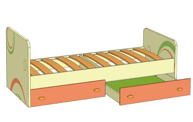 Кровать с выкатными ящиками Любимый дом Фруттис (80), ЛД 503.020