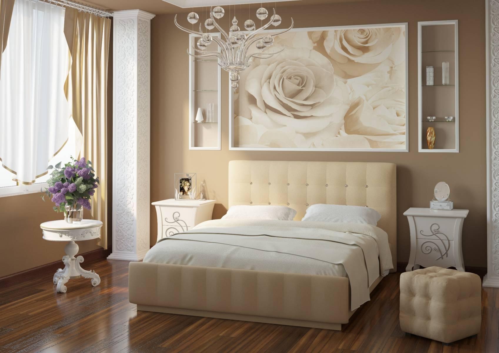 Спальня с бежевой кроватью дизайн