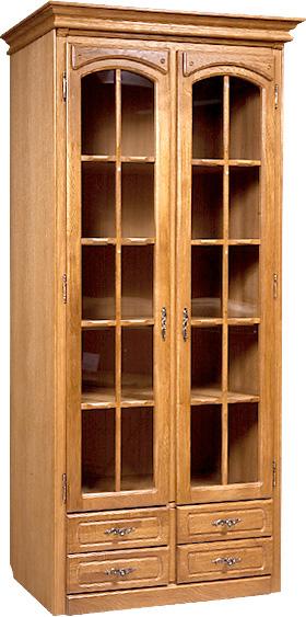 Прямые шкафы витрины со стеклом, серванты из шпона цвета дуб.