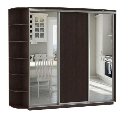 Шкаф-купе 3-х дверный Е1 Медиум 2100 (2 зеркала)
