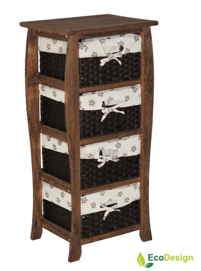 Комод с 4 плетеными ящиками ЭкоДизайн, арт.474