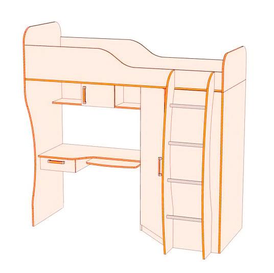 Кровать-чердак №3, шкаф угловой №2, рабочая поверхность №4 Джуниор