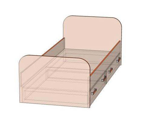 Кровать с двумя ящиками № 7 Джуниор (80)