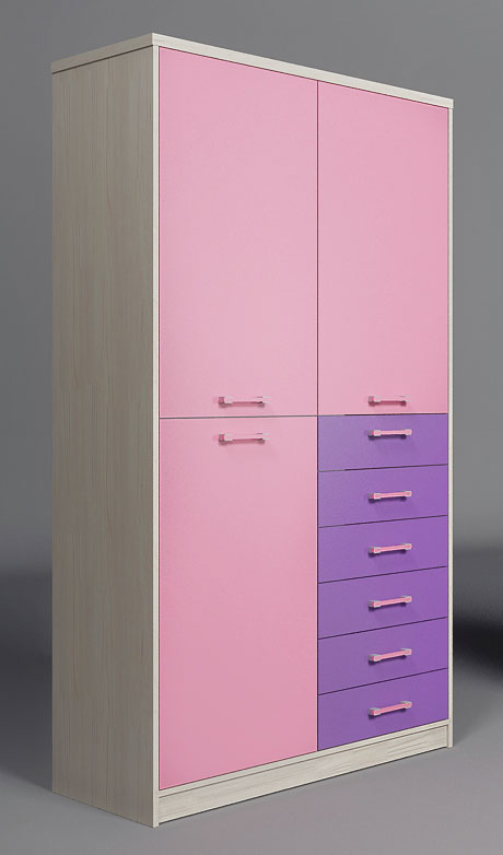 Шкаф с 2 дверьми и 6 ящиками Фанки Сити, ФС-07