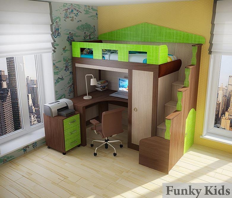 Кровать-чердак Фанки Хоум-4 (с нишей  и шкафчиком)