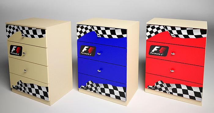 Комод 4 ящика Фанки Беби Формула-1, арт. ФБ-К1