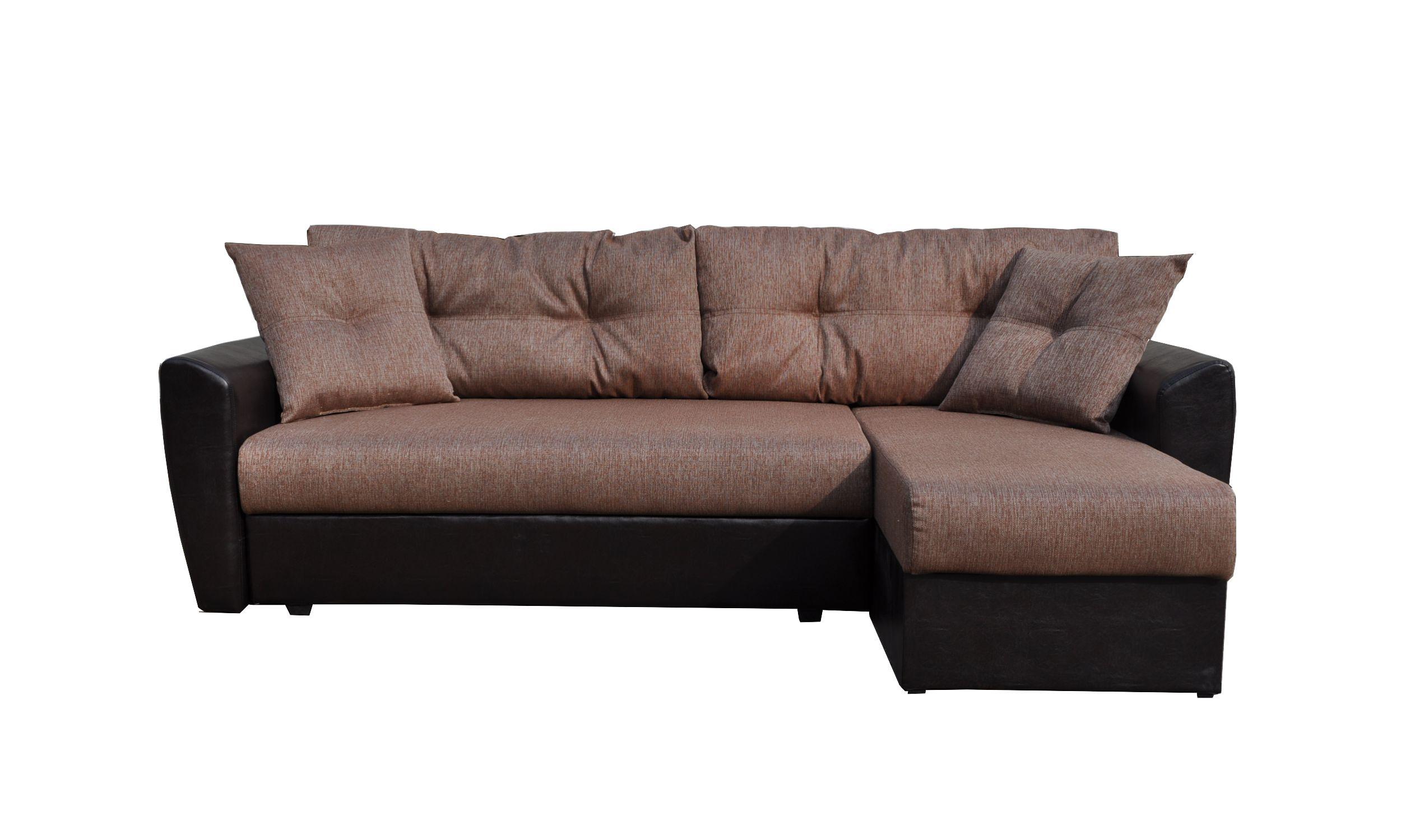 Диван угловой Амстердам рогожка коричневая 160