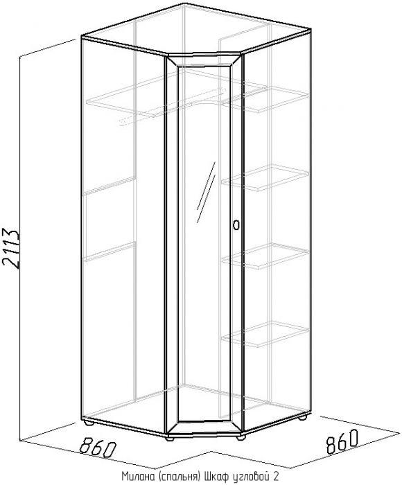 Шкаф угловой 2 с зеркалом Глазов Милана