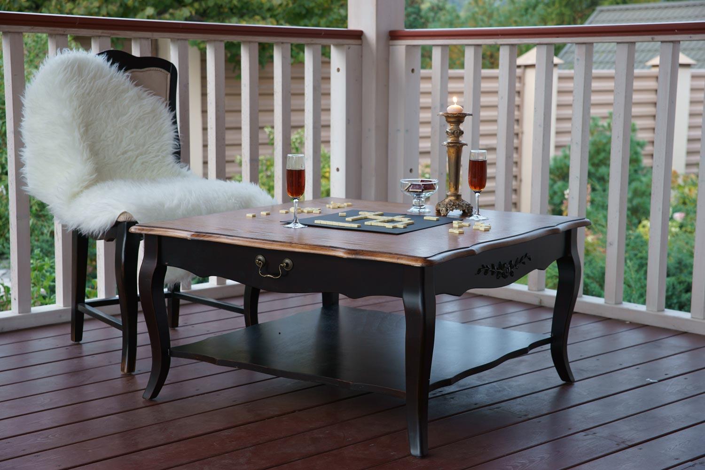 Столик чайный низкий квадратный Belveder Saphir Noir, ST 9117N