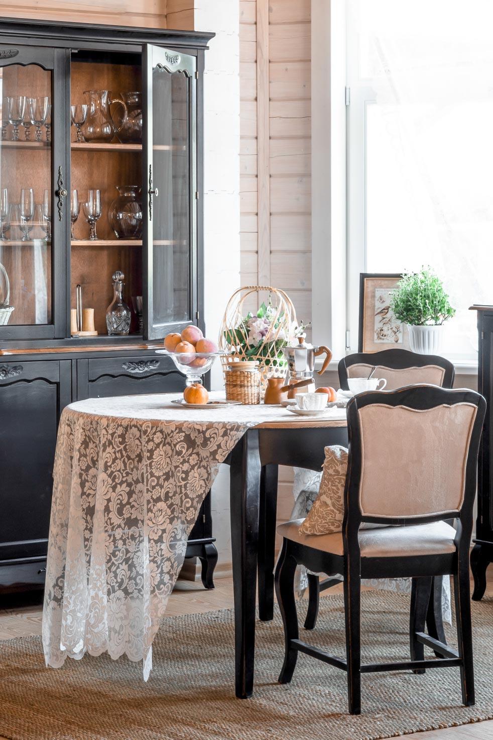 Стол обеденный круглый малый Belveder Saphir Noir, ST9152SN