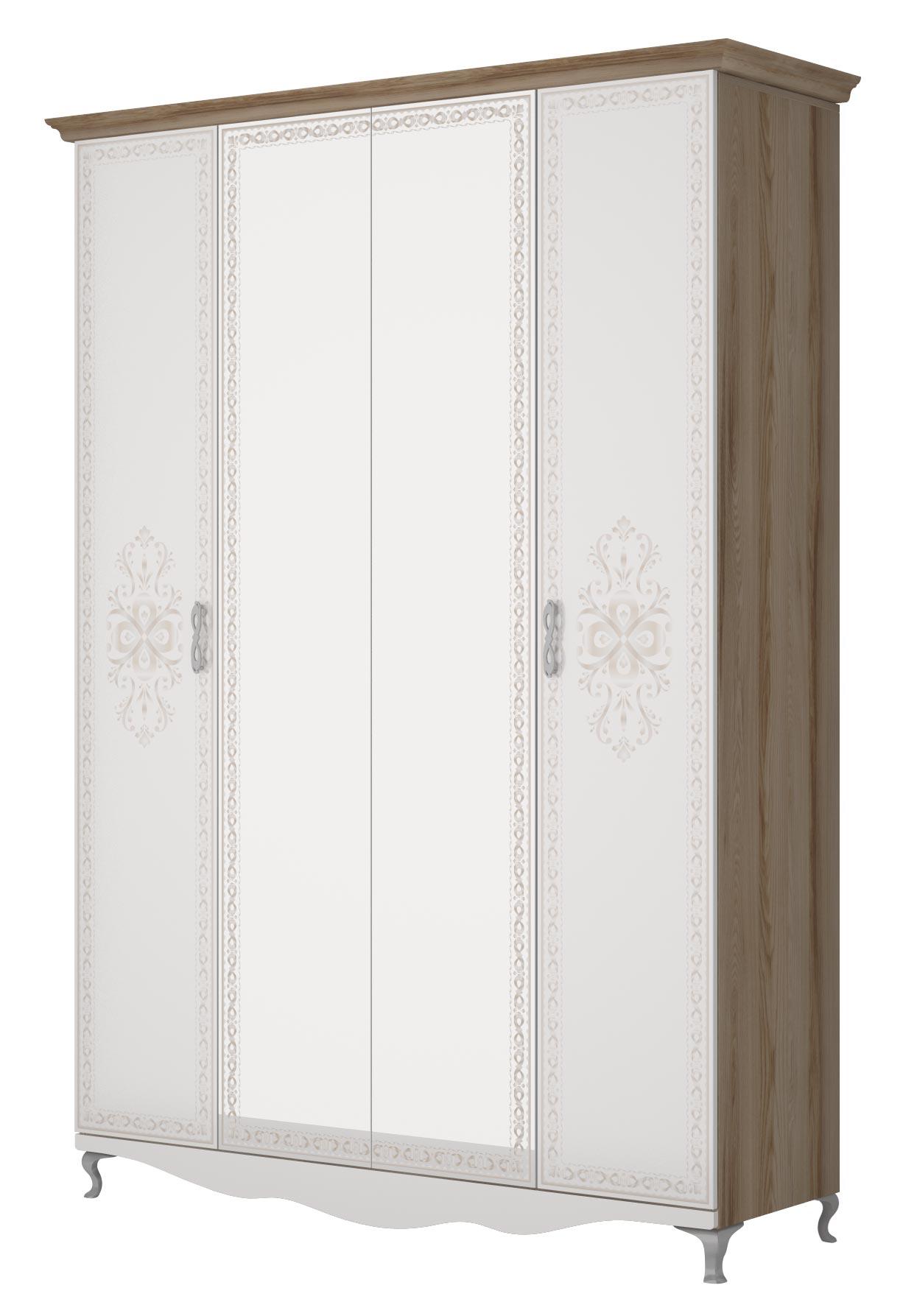Шкаф 4х дверный с зеркалом Ижмебель Династия, мод. 1