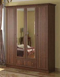 4-х дверный шкаф для одежды с ящиком и карнизом Ребекка