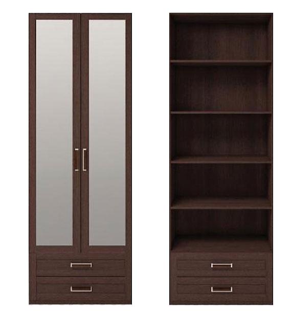 Шкаф 2х дверный для одежды с ящиками и зеркалом Ижмебель Скандинавия, арт. 1