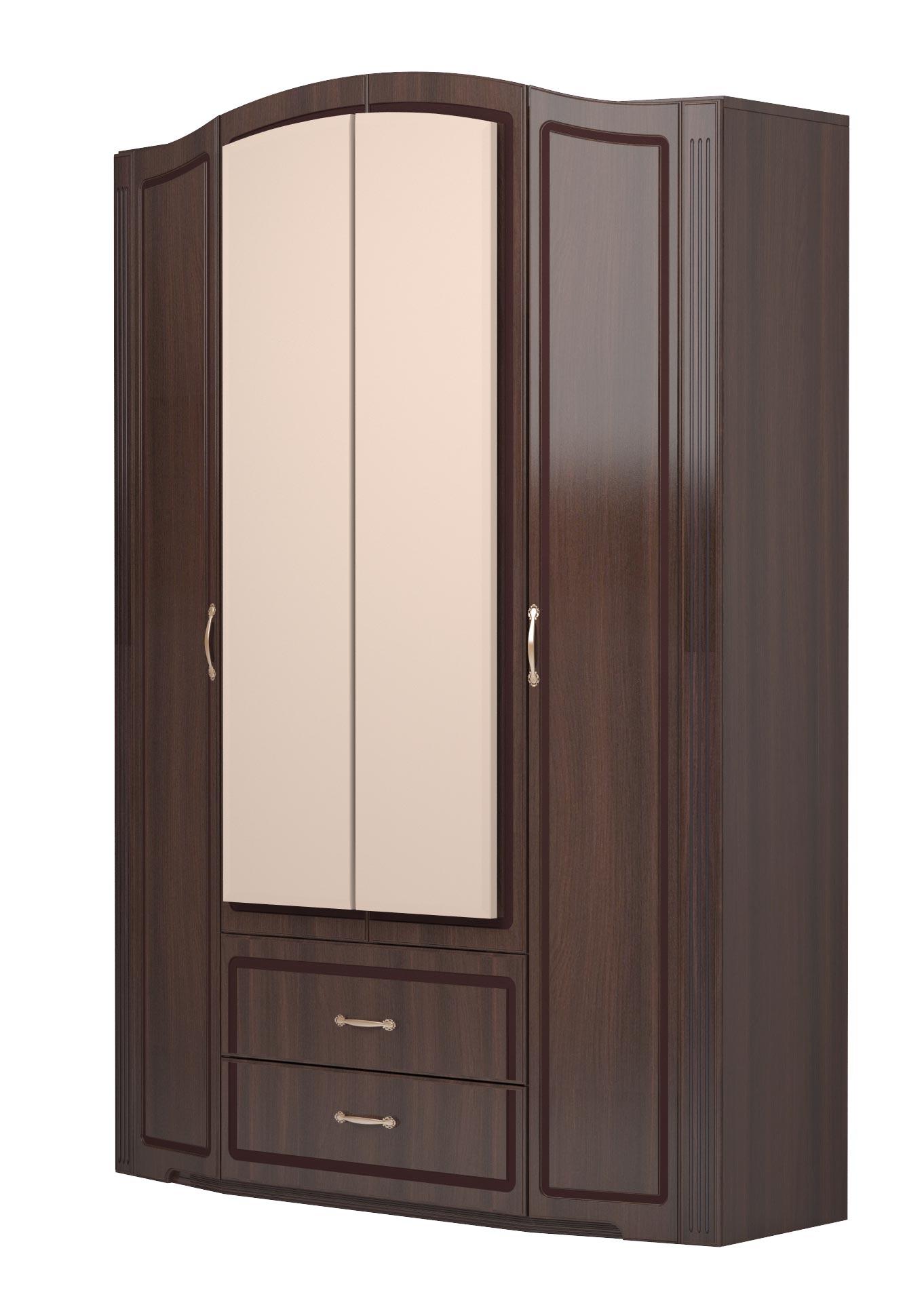 Шкаф 4х дверный с зеркалами и с ящиками Ижмебель Виктория (дуб тортона глянец), арт.02