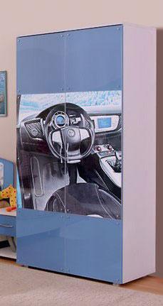 Шкаф для одежды Ижмебель Бьянка АРТ 8 (сизый/машина)