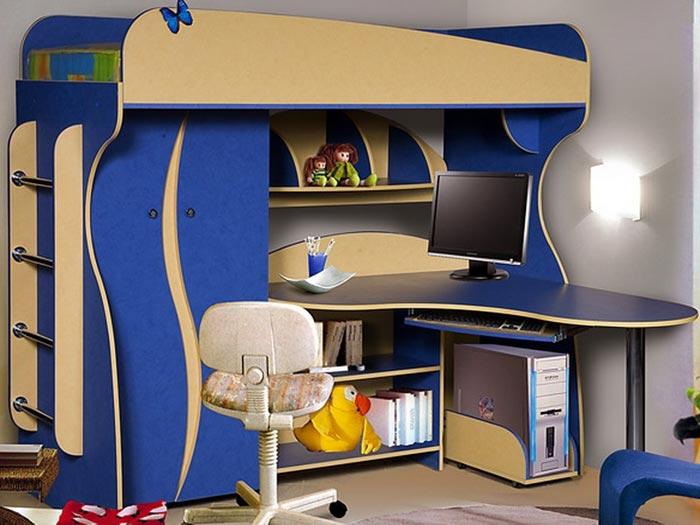 Синяя детская мебель Альфа-3 КМК