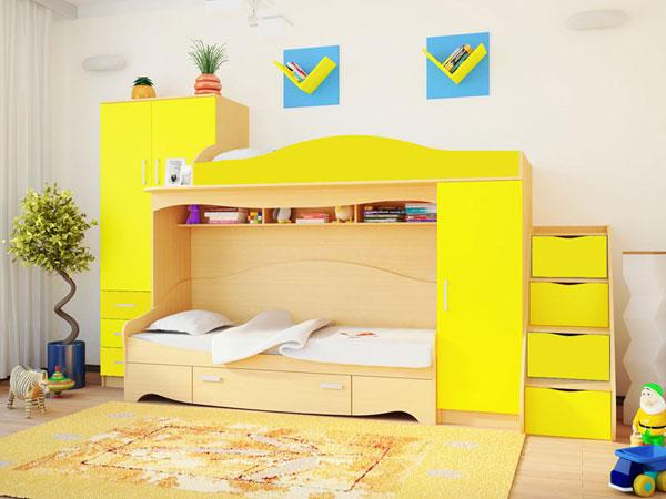 Детская кровать-чердак РМК Нео 2 с приставной лестницей