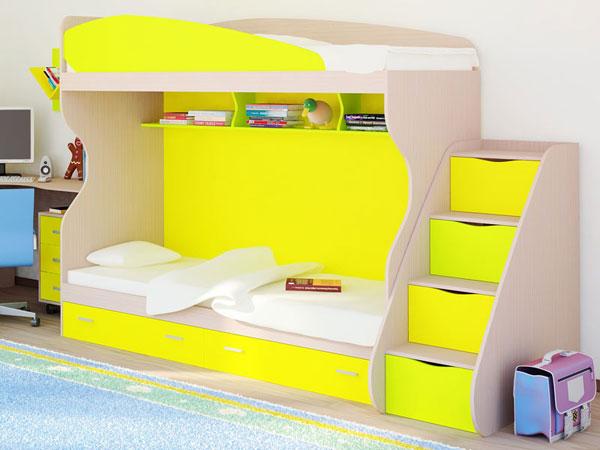 Кровать двухъярусная РМК Симфония с приставной лестницей