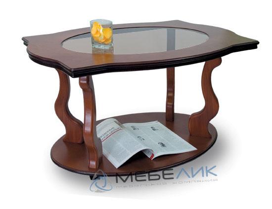 Стол журнальный Мебелик Берже 3С со стеклом на колесах