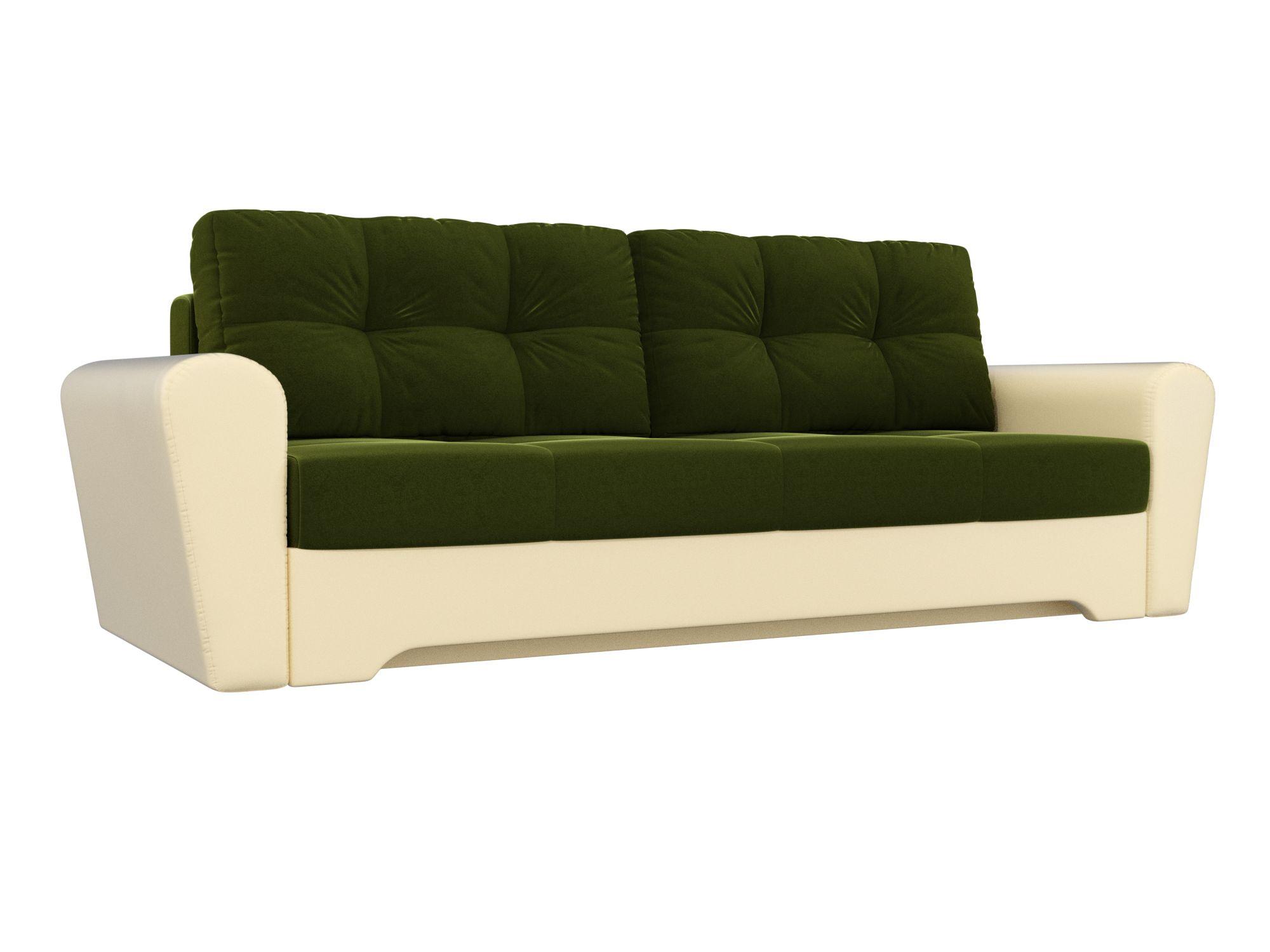 Диван прямой Мебелико Амстердам микровельвет зеленый/ эко кожа бежевый