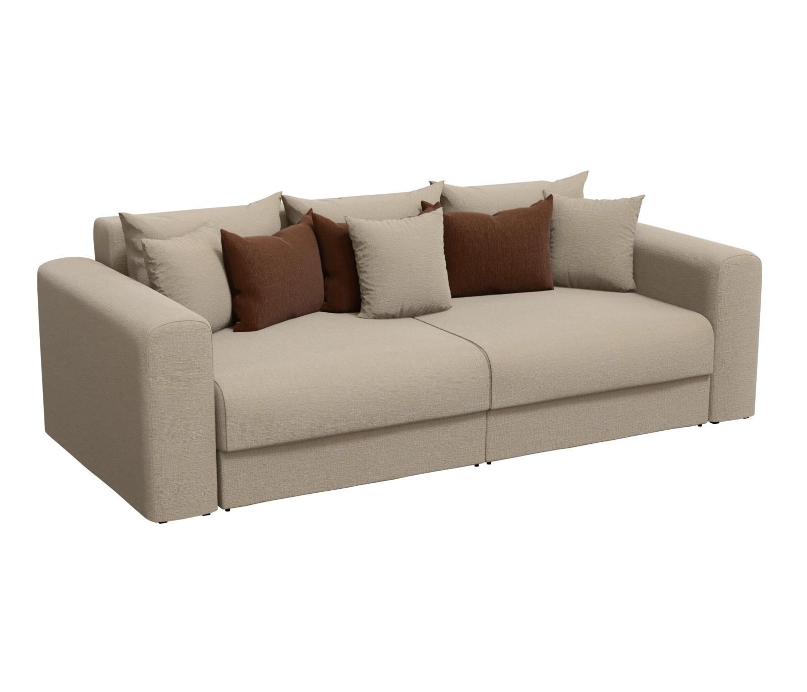 Диван прямой Мебелико Мэдисон рогожка бежевый/ подушки коричневый