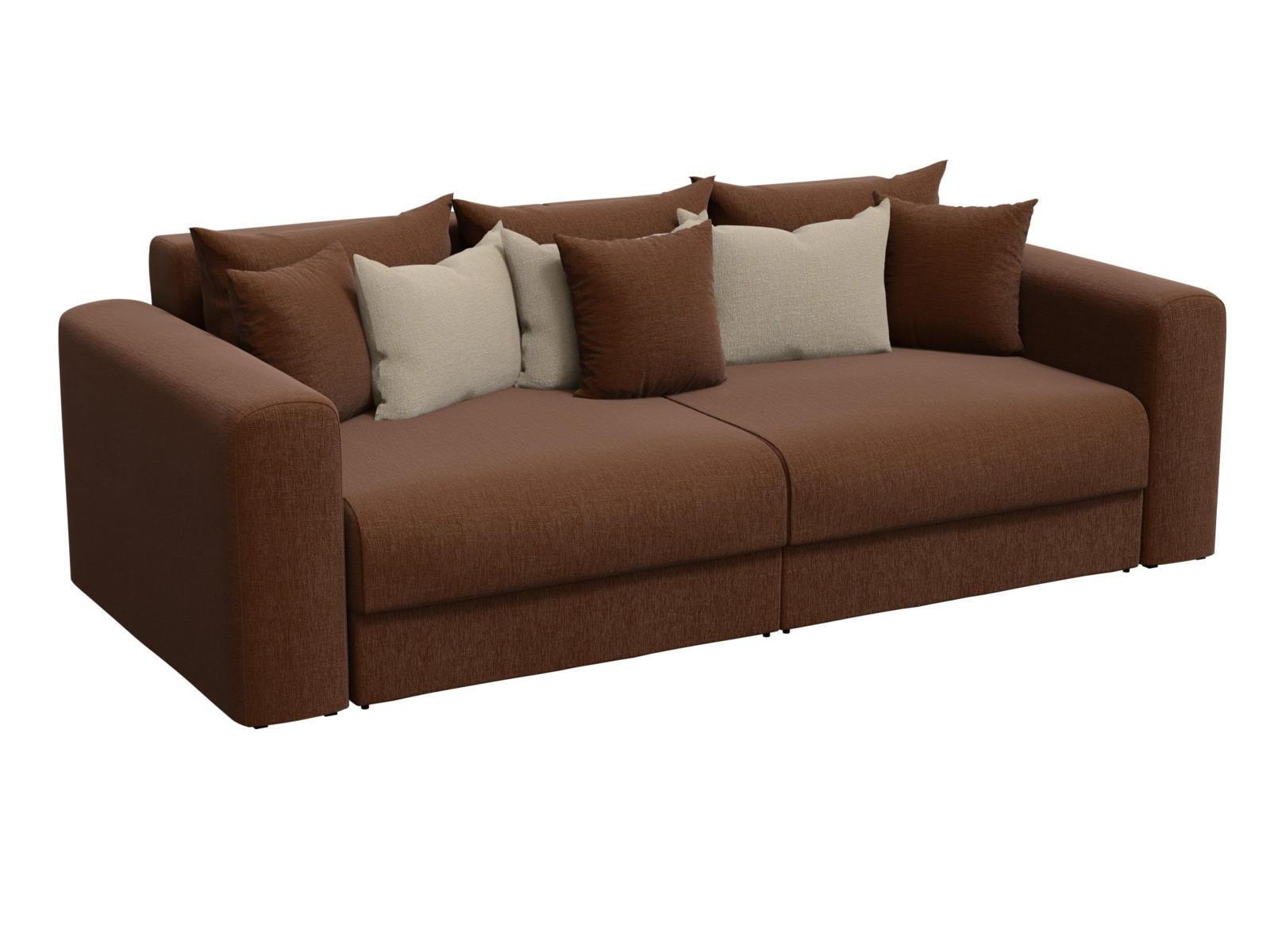 Диван прямой Лига Диванов Мэдисон рогожка коричневый/ подушки бежевый