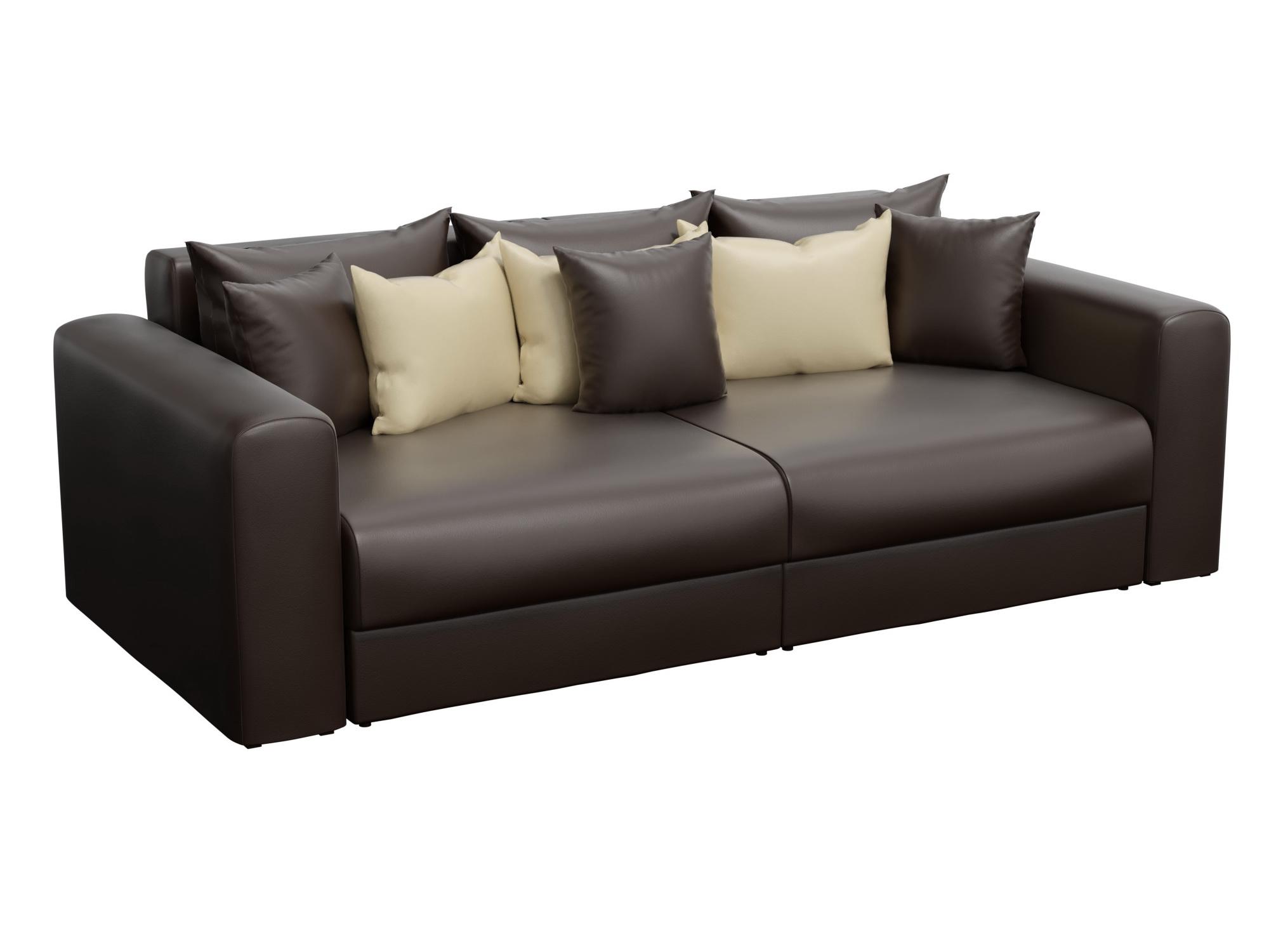 Диван прямой Мебелико Мэдисон эко кожа коричневый/ подушки бежевый