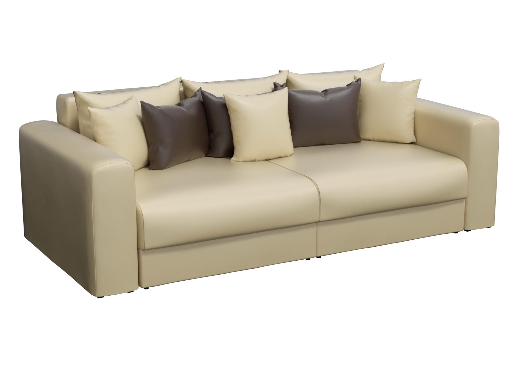 Диван прямой Мебелико Мэдисон эко кожа бежевый/ подушки коричневый