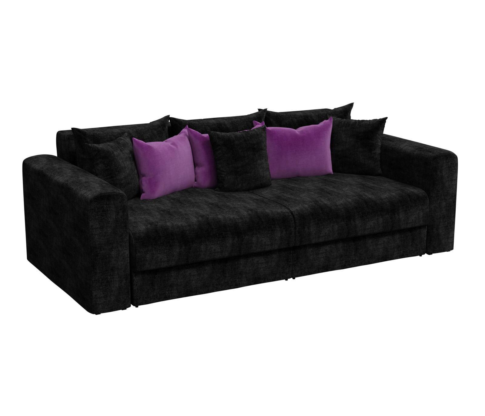 Диван прямой Мебелико Мэдисон микровельвет черный/ подушки фиолетовый