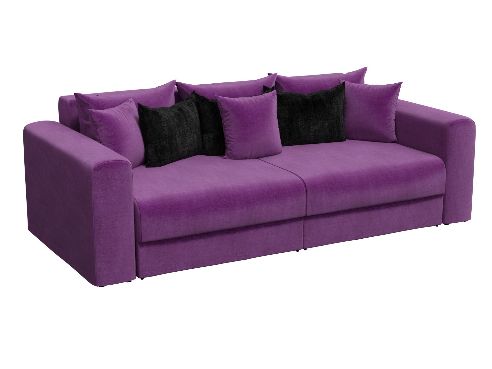 Диван прямой Лига Диванов Мэдисон микровельвет фиолетовый/ подушки черный