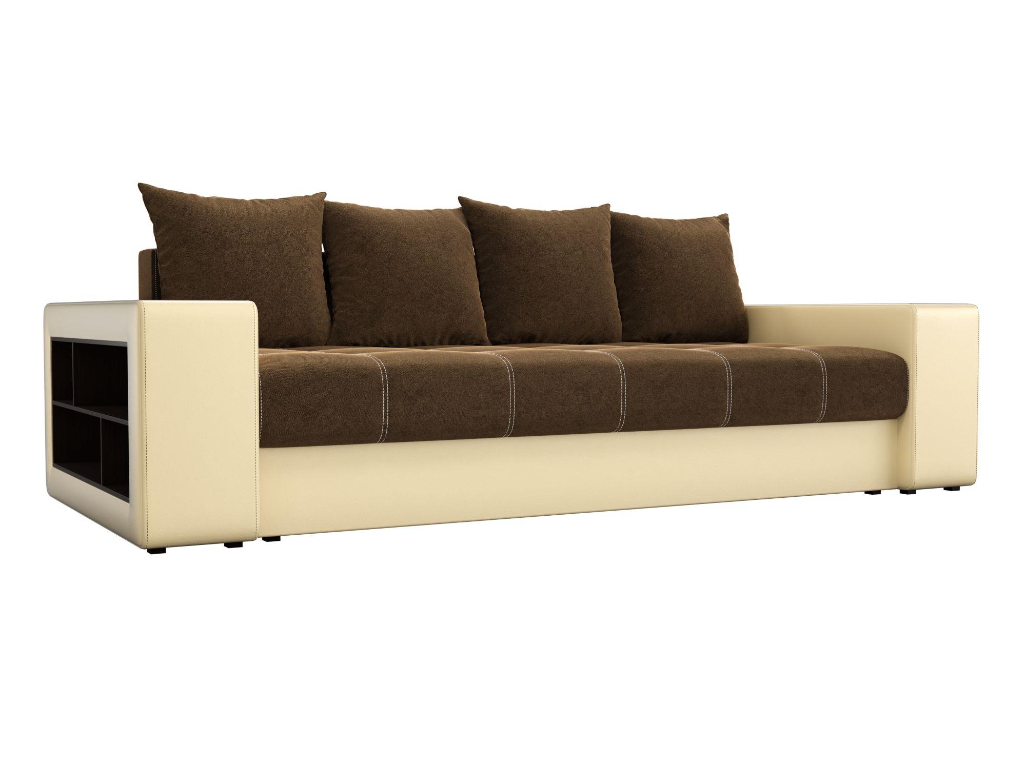 Диван прямой Мебелико Дубай микровельвет коричневый/ эко кожа бежевый
