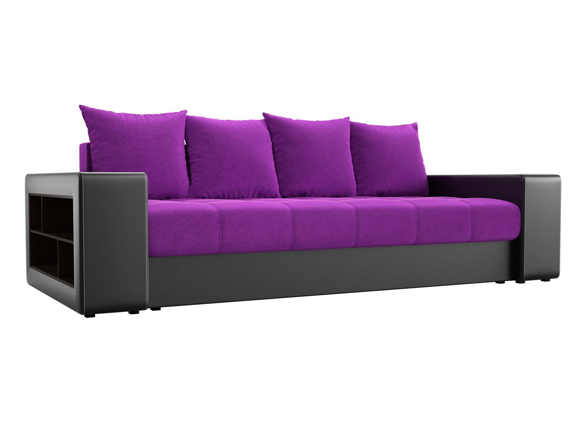Диван прямой Лига Диванов Дубай микровельвет фиолетовый/ эко кожа черный