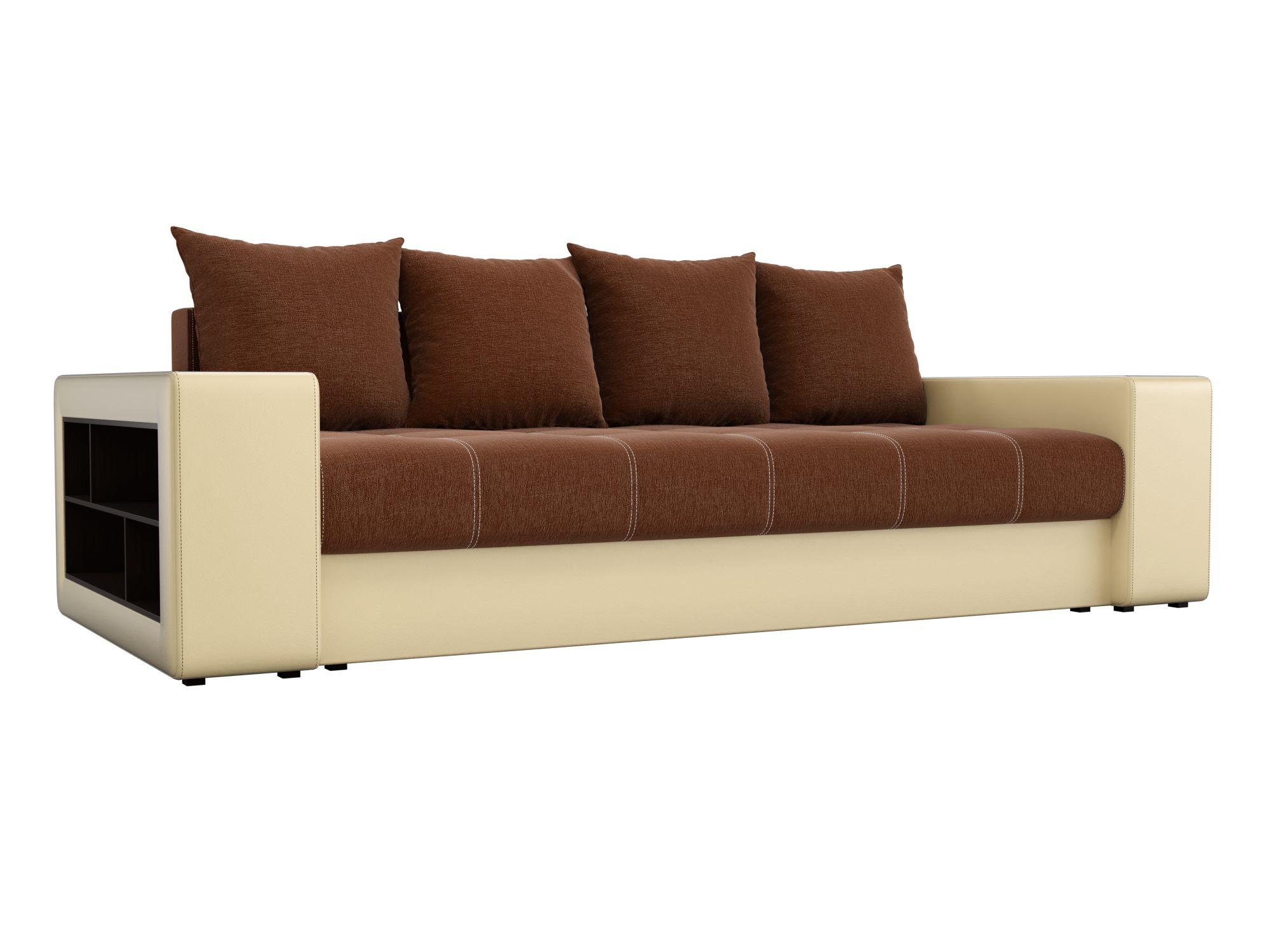 Диван прямой Мебелико Дубай рогожка коричневый/ эко кожа бежевый