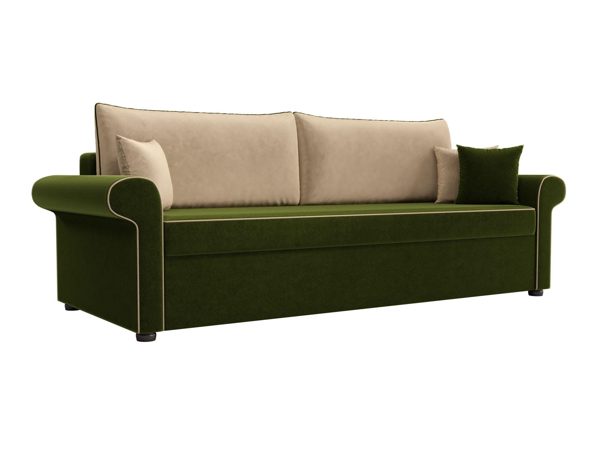 Диван прямой Мебелико Милфорд микровельвет зеленый/бежевый