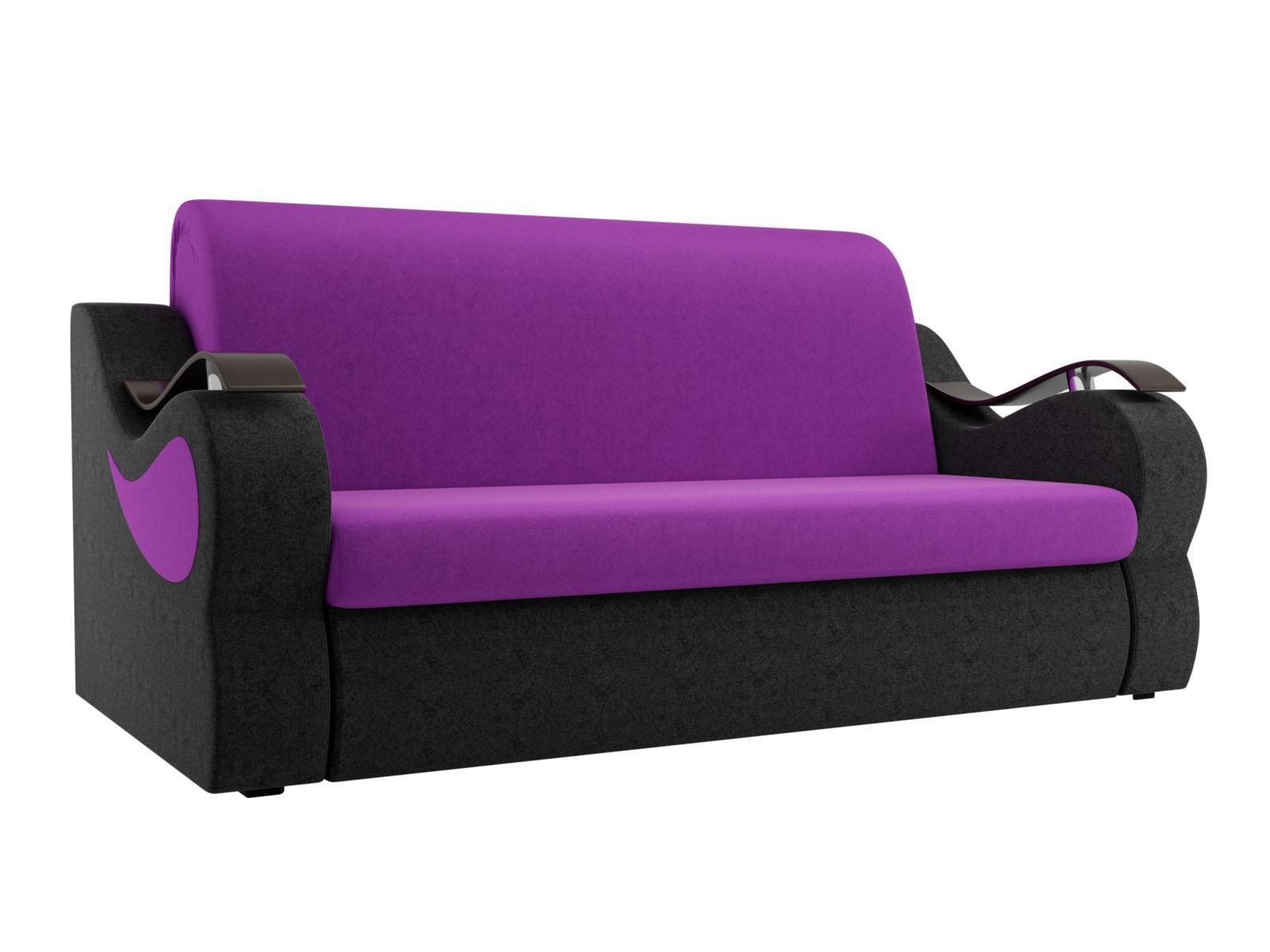 Диван прямой Мебелико Меркурий микровельвет фиолетовый/черный