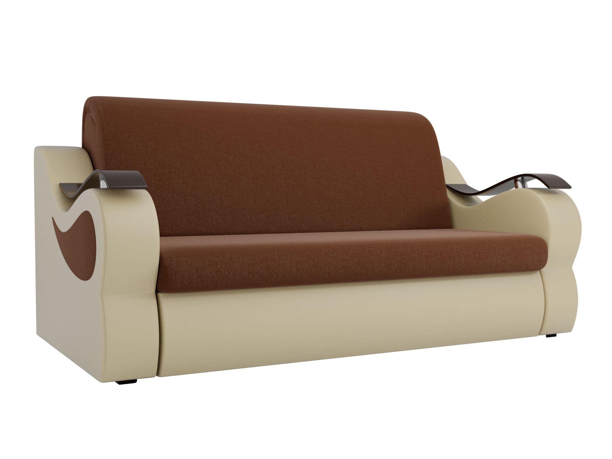 Диван прямой Мебелико Меркурий рогожка коричневый/ эко кожа бежевый