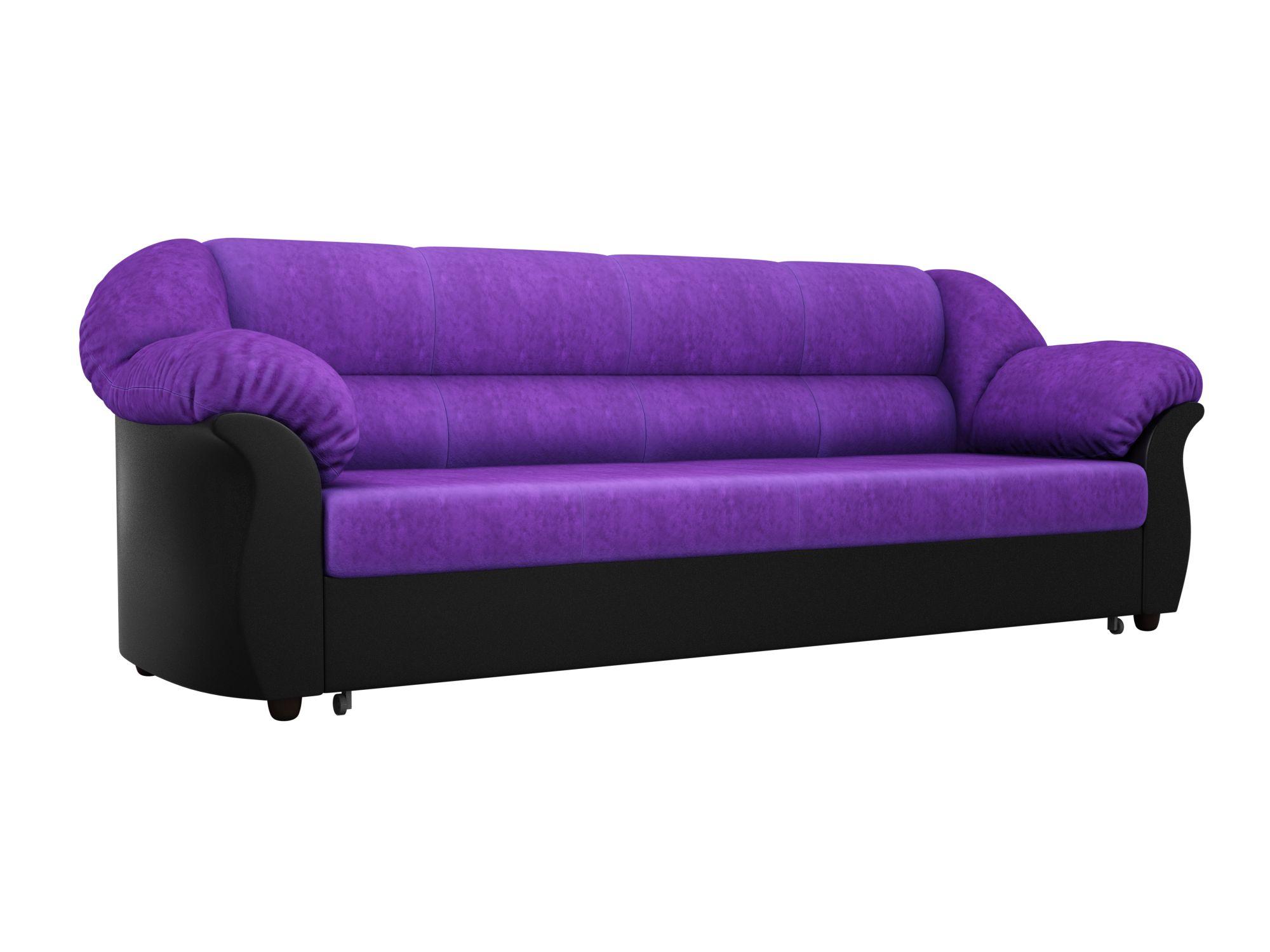Диван прямой Мебелико Карнелла велюр фиолетовый/ эко кожа черный