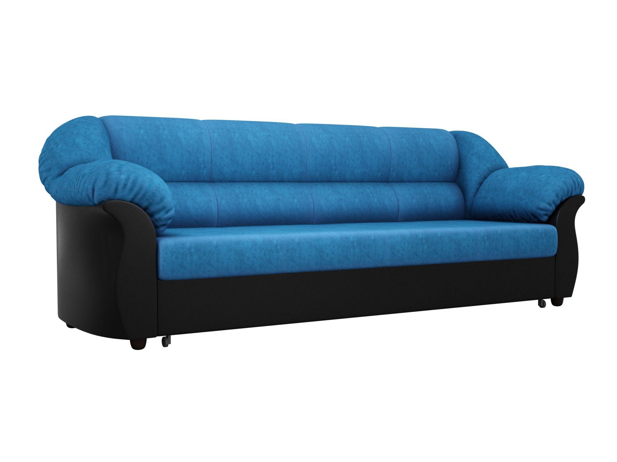 Диван прямой Мебелико Карнелла велюр голубой/эко кожа черный
