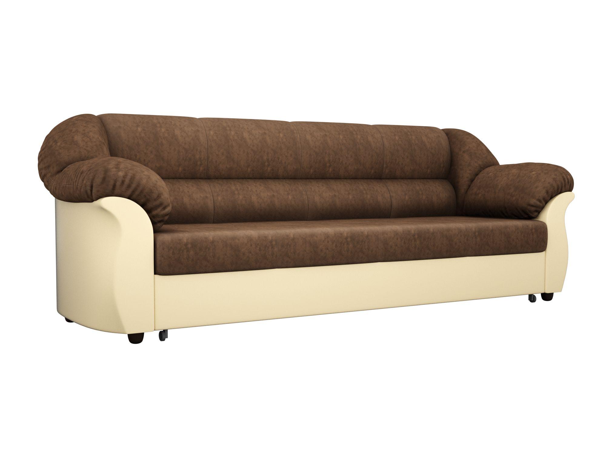 Диван прямой Мебелико Карнелла велюр коричневый/ эко кожа