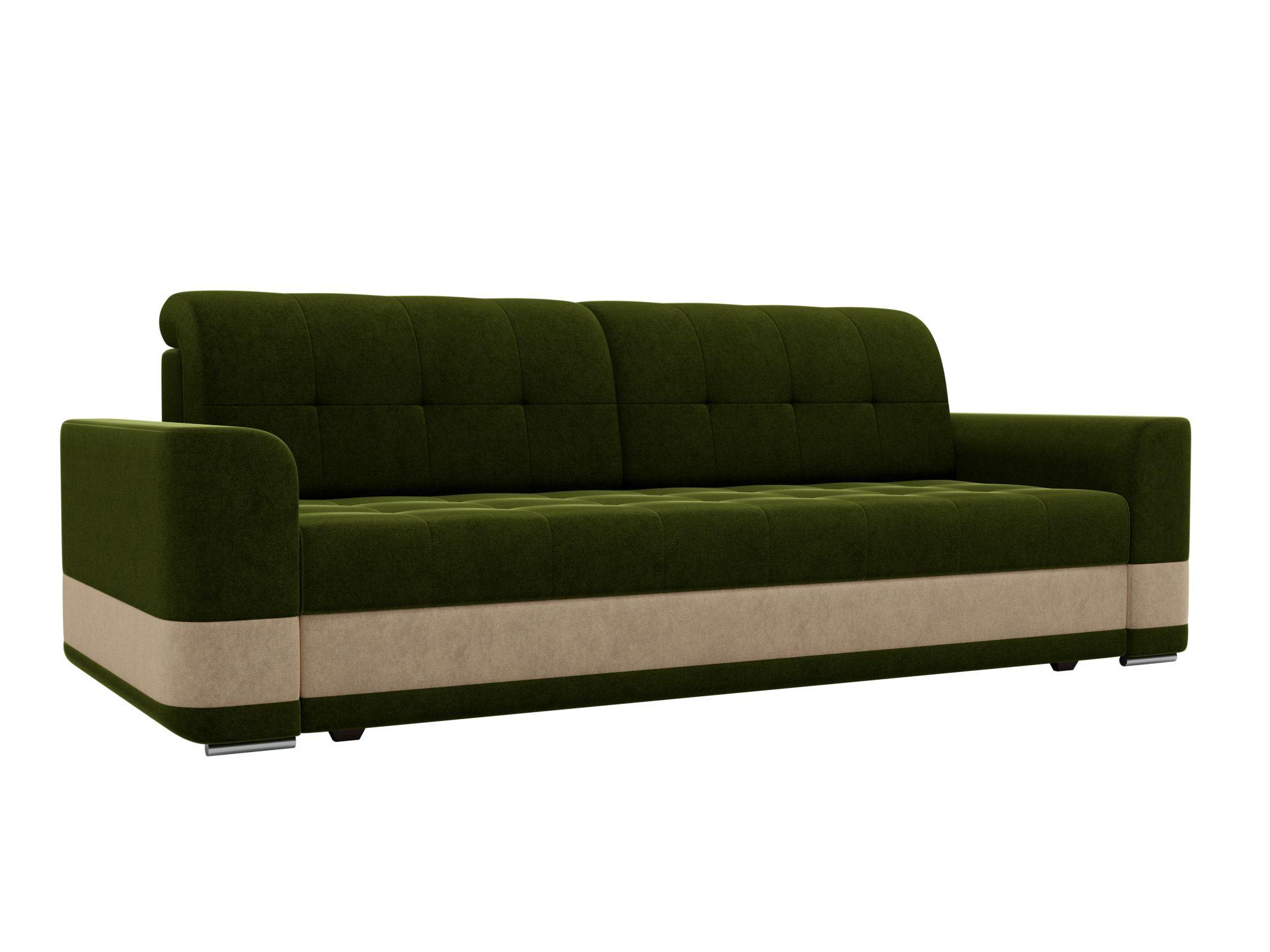 Диван прямой Мебелико Честер микровельвет зеленый/бежевый