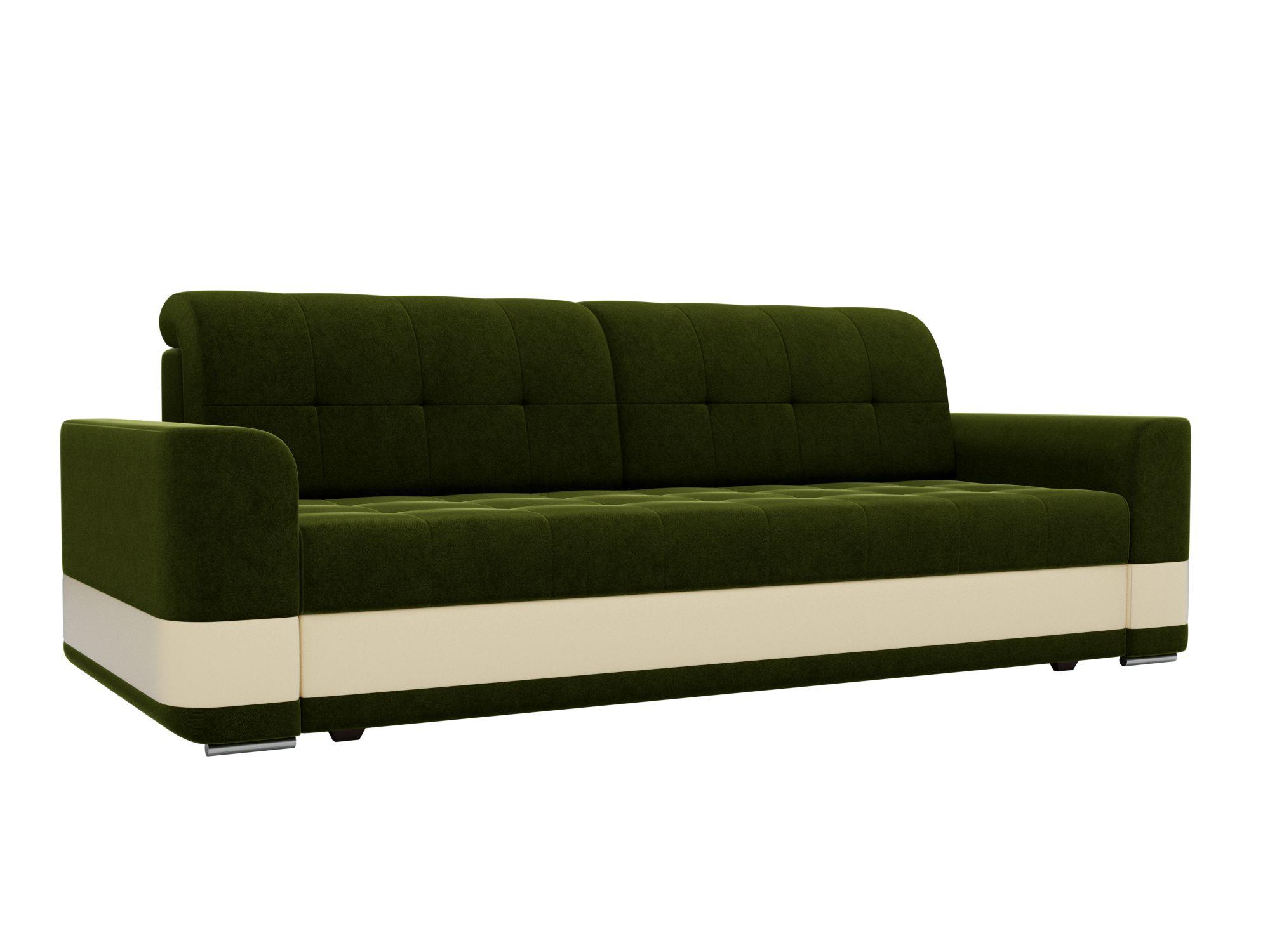 Диван прямой Мебелико Честер микровельвет зеленый/ эко кожа бежевый