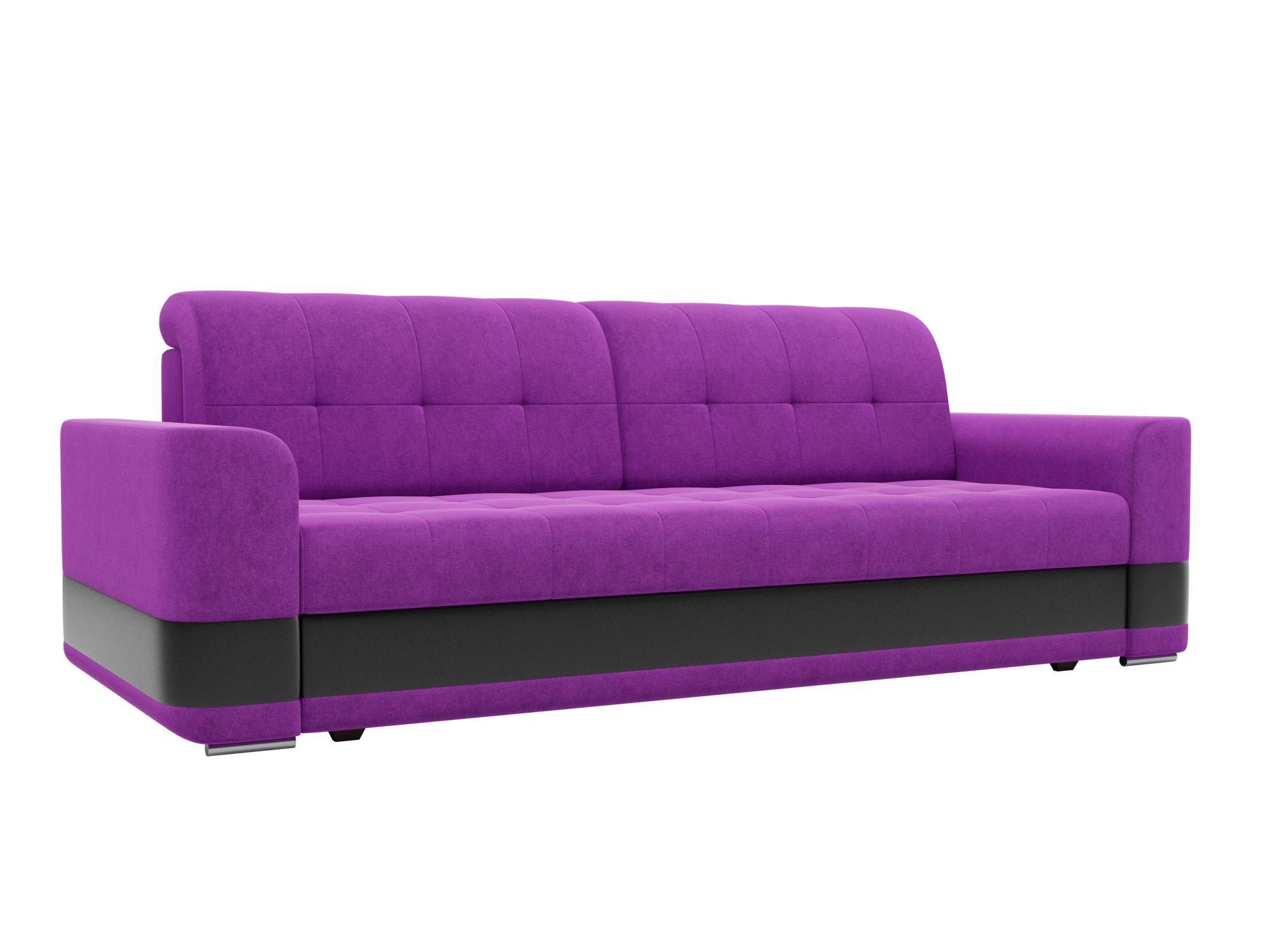 Диван прямой Лига Диванов Честер микровельвет фиолетовый/ эко кожа черный